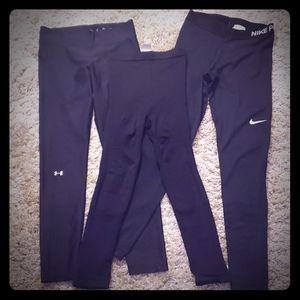3 sets womens compression leggings size M